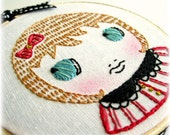 Caramel Apple Betty - Floss Embroidered Hoop Art