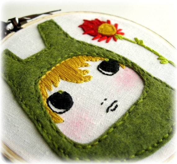 Olive You - Felt and Floss Embroidered Hoop Art