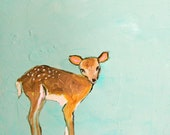 Little Deer (5x7 Print of baby deer on soft turquoise background for nursery)