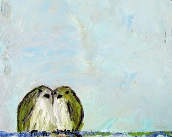 Offering (Art Print of lovebirds on a wire)