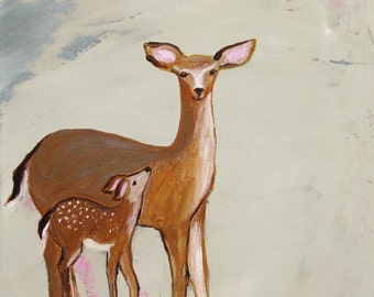 Doe Eyes (Art Print of momma and baby deer neutral colors)