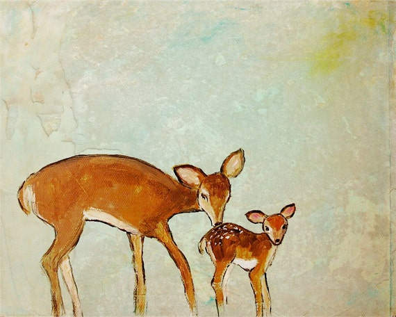 Softly Heaven's Scent ~ Print of mother deer and her baby