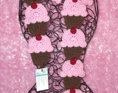 Chocolate Cupcakes Pink Frosting Scarf Sweet Black Stemed 3D Cherry 70in. Super Soft  Made To Order