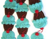Ready To Ship Cupcakes Scarf  Chocolate brown Turquoise Blue Red Cherry 70 in. BONUS matching cupcake pin.