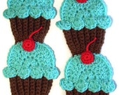 Chocolate Turquoise Cupcakes Scarf  Red Cherry 70 inch Made To Order