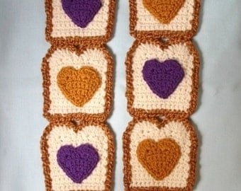The Original I Heart Peanut Butter / Grape Jelly Toast SCARF Made To Order