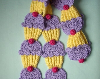 Cupcakes SCARF crochet Yellow Cake Lavender Frosting Dark Pink 3D Cherry Kawaii cute tasty sweet candy yummy cupcake scarf Made To Order