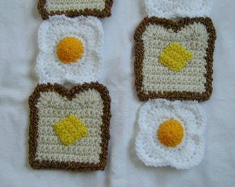 Super Soft Breakfast Time crochet Scarf Eggs and Toast with Butter Made To Order
