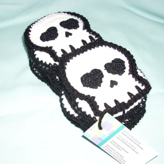 Crocheted Skull SCARF Made To Order