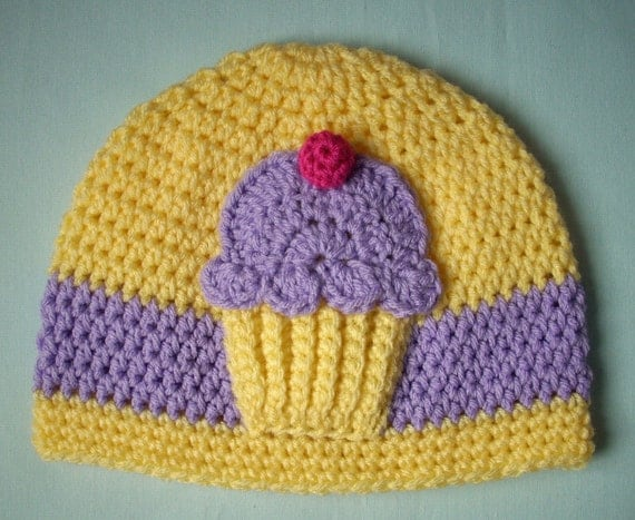 Yellow cake Lavender Frosting Pink Cherry Cupcake beanie HAT Made To Order