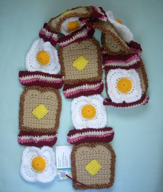 Knitting Pattern Bacon Scarf : Toast SCARF Crochet Reddish Pink Bacon Eggs and Whole Wheat