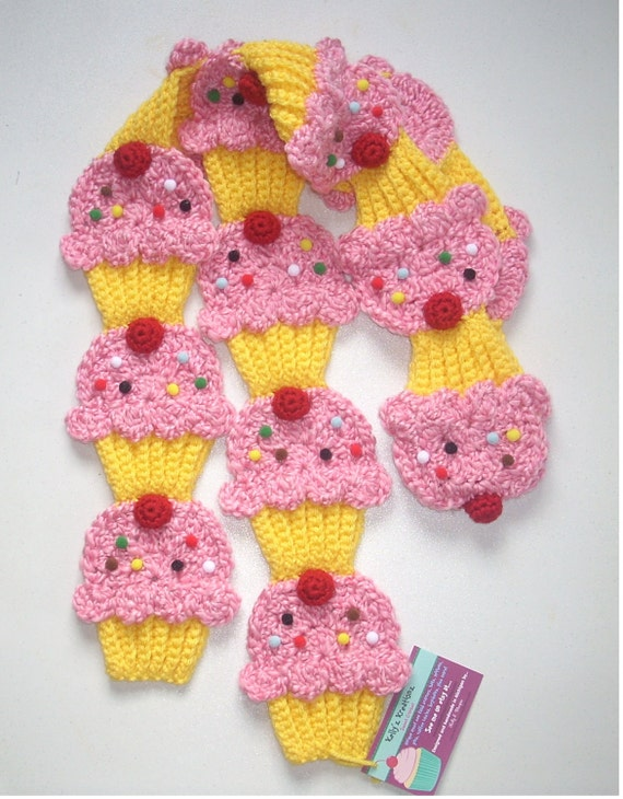 Cupcake SCARF crochet Rare Find Pink Cotton Candy Yellow Cupcakes Scarf 3D Cherry sprinkles Ready To Ship