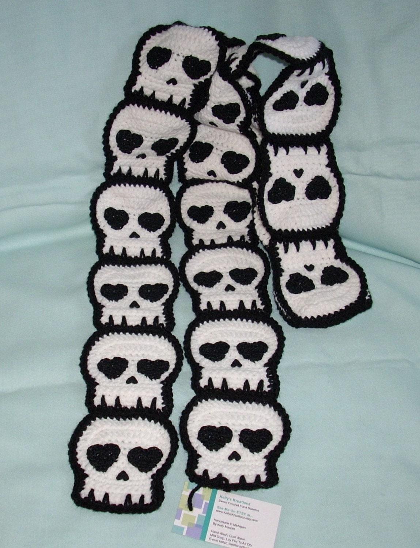 Crochet Skull SCARF SHIPS NOW