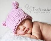 Soft Baby Bear Hat---NEWBORN size---by Knittinmama---READY TO SHIP