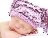HAT SALE - 0-2 week - Funky Loopy Hat in Light Purple - Knit by Knittinmama