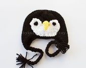 SALE  - Last of inventory -- 6-12 month size - Penguin Hat with Earflaps - Handmade by Knittin Mama