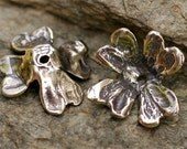 THREE------Designer Artisan Sterling Silver Large RUFFLED FLORAL Bead Caps