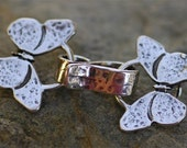 Artisan Hammered Double Butterfly Clasp in Sterling Silver