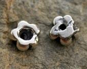 Six Artisan Versatile Daisy Sterling Silver Spacer Bead