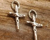 TWO Tiny Rustic CROSS Charms in Sterling Silver