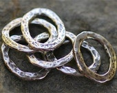 Hammered Links Ovals in Sterling Silver