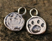Two Paw Print Charms in Sterling Silver, Dog Paw Print,  -190s