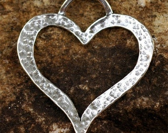 Artisan Hammered Open Heart Pendant in Sterling Silver