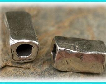 Tubular Heavy Rectangle Sterling Silver Bead, Artisan Tubular Bead