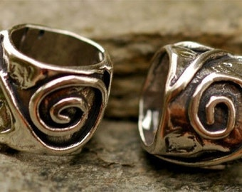 Rustic Eternal Spiral Sterling Silver Slider Bead