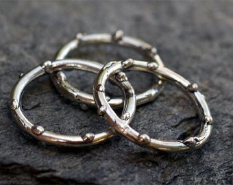 TWO Skinny Dotted Ring Links in Sterling Silver