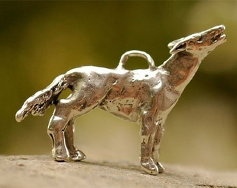 Howl at The Moon Wolf, Artisan Coyote Sterling Silver Pendant
