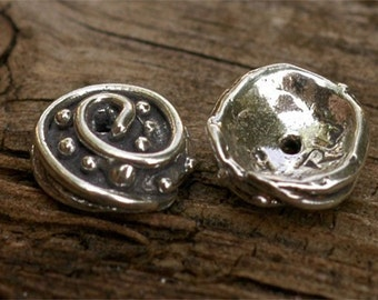 Two Dots and Swirl Bead Caps in Sterling Silver