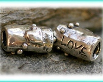 Sterling Silver Artisan Heart and Love Bead
