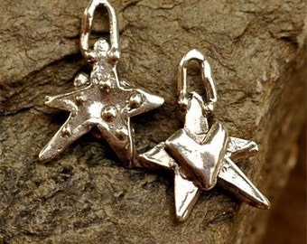 Artisan Dotted Star w Heart Charm in Sterling Silver