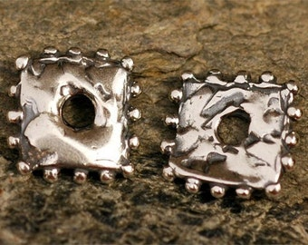 Square Spacer Beads, Two Dotted Rustic Spacer Beads in Sterling Silver, AD22