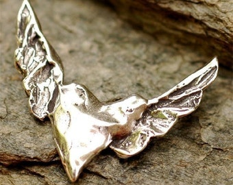 Sterling Silver Heart with Wings Pendant