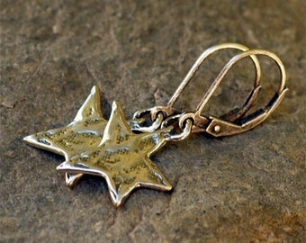 Rustic Sterling Silver Star Earrings