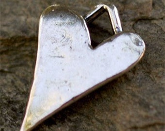 Rustic Long Whimsical Heart in Sterling Silver