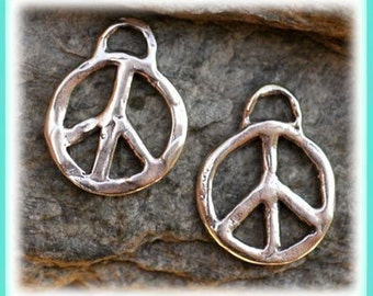 Two Sterling Silver Artisan Peace Charms