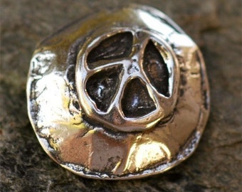 Peace Button Clasp in Sterling Silver