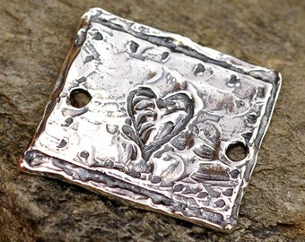 Artisan Textured Square Link w Etched Heart in Sterling Silver 103s
