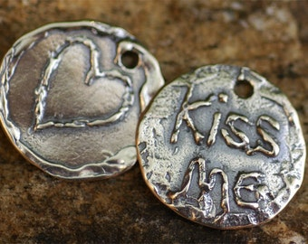 Rustic Kiss Me Pendant or Big Charm in Sterling Silver -138s