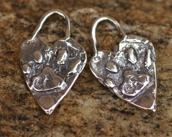 Two Artisan Paw Print Charms in Sterling Silver, Dog Paw Charms, H-152