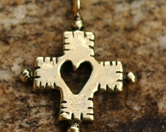 Cross with Cut Out Heart Charm in Gold Bronze -35yb