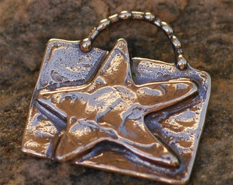 Artisan Star on Rectangle Pendant in Sterling Silver -146
