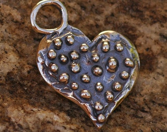 Dotted All Over Heart Pendant in Sterling Silver, 149s