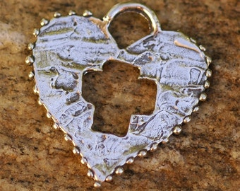 Love Heals - Artisan Handcrafted Sterling Silver Heart with Cross Pendant