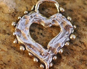 Artisan Dotted Heart Charm in Sterling Silver