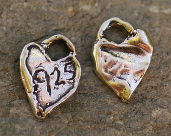 Two Artisan 925 Heart Tags Sterling Silver Charms