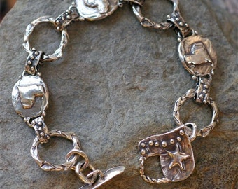 Artisan Handcrafted Hearts and Dots Sterling Silver Bracelet